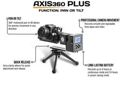 Axis360: modular motion control for cameras by Cinetics — Kickstarter.  A compact, motorized tripod head and slider for dynamic video and timelapse photography.
