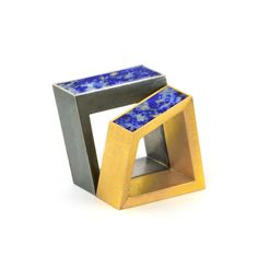 """Ring sculpture"" by Helfried Kodré. Silver, gold, lapis lazuli."