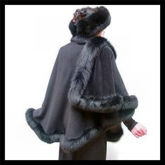 Please call us toll free at (877) 469-2270 for price. Delphia Dreams 41 Spring Street Eureka Springs AR 72632     New BLACK Classic 100% Lined Cashmere CAPE Sexy SOFT Fox Fur COAT Wrap Poncho