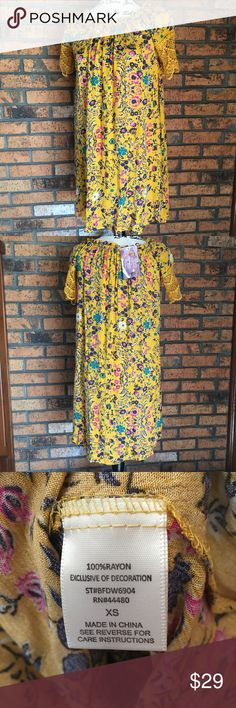 Love Fire Off Shoulder Dress XS NWT Love Fire Off Shoulder Dress XS NWT, yellow floral print dress...pair with booties and a jacket for the perfect fall look. love Fire Dresses