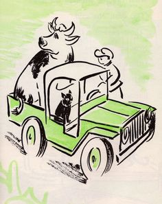 Last One Home is a Green Pig - written by Edith Thacher Hurd, illustrated by Clement Hurd (1959).