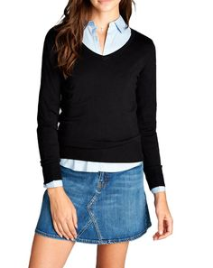 Basic V Neck Stretch Sweater (6 Colors)