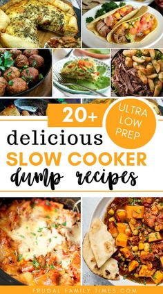 A roundup of 20 slow cooker recipes that are almost no or very low in prep time. Fast easy and famil Crockpot Dump Recipes, Slow Cooker Recipes, Crockpot Prep Meals, Crock Pot Dump Meals, Slow Cooker Dinners, Slow Cooker Meal Prep, Dump Dinners, Crockpot Ideas, Cheap Dinners