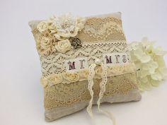 Ring bearer pillow Mr and Mrs pillow by VintageLullabyDesign