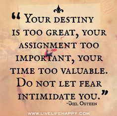 Your destiny is too great, your assignment too important, your time too valuable. Don't let fear intimidate you. -Joel Osteen by deeplifequotes, via Flickr