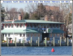 A marina on the harbor in Annapolis Maryland. Photograph taken on February 5th 2012. To see a full size version of this photograph, as well as the accompanying Annapolis Experience Blog article, please click through on the Pinterest images for it. Copyright © 2012 Annapolis Experience