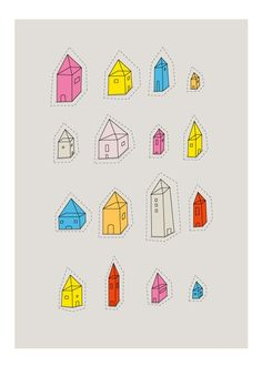 transparent houses print by judy kaufmann (on etsy)