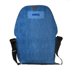 "blue denim messenger bag with a ""bleached"" patch to write your name or initials. Many colours are available."