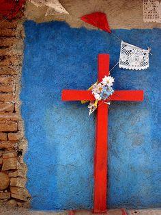 Street altar.  Tzintzuntzan, Michoacan, Mexico.