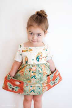 Vintage Sewing Patterns Sally Dress Pattern - Because any GOOD dress has pockets! - A vintage inspired dress with modern flair! The Sally Dress features a fully lined bodice, a square neckline with no closures, sleeveless Sewing For Kids, Baby Sewing, Vintage Sewing Patterns, Clothing Patterns, Kids Clothes Patterns, Simple Sewing Patterns, Childrens Sewing Patterns, Dress Sewing Patterns, Kids Clothing