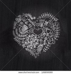 Heart shape chalk drawing on chalkboard blackboard.Floral heart. Heart made of flowers.Doodle Heart by Markovka, via ShutterStock