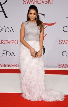 Nina Dobrev in Lela Rose at the 2015 CFDA Fashion Awards. See all the looks from the night.