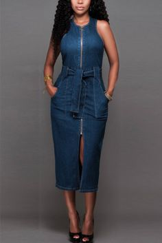Blue Fashion Casual Street Daily Cold Shoulder Sleeveless Cold Shoulder The MIDI Dress Mid Calf Solid Dresses Robe Bodycon, Denim Bodycon Dress, Jeans Dress, Denim Dresses, Denim Outfits, Nice Outfits, Shirt Dress, Tunic Shirt, Denim Skirt