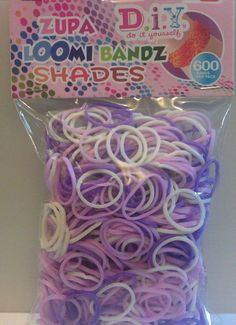 loom rubber bands White to Purple rubber bands 600 count bands and C clips loom rubber bands