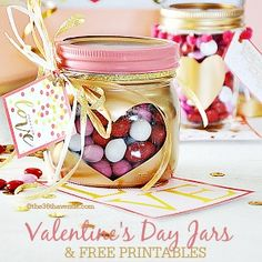 Pink & gold Valentine's Day jars- fill with m&m's, gummy hearts, or your favorite candy. Cute gift for my kids!