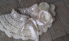 Ivory Crocheted Collar Scarflette w/ detachable Rosettes & ribbon tie by AnitaDeanSews