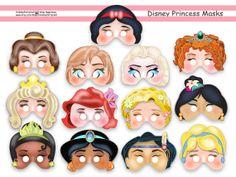 Unique Disney Princess Party Printable Mask Collection,party masks,birthday,party paper,mask,Anna,Elsa,Ariel,Rapunzel,Cinderella,Jasmine