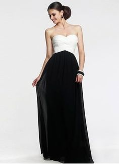 Empire Strapless Sweetheart Floor-Length Chiffon Charmeuse Prom Dress With Ruffle