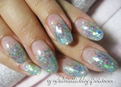Gel Nail Polish Designs | ... blue glitter gel nails. Oval/round shaped nails are super IN now