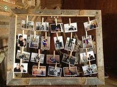 Frame with engagement pictures, clothes pins and engagement photos by guest book and advice box