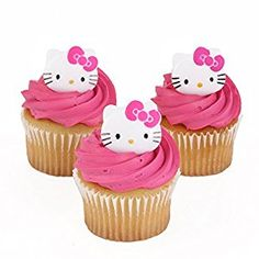 Amazon.com: Hello Kitty Officially Licensed 24 Cupcake Topper Rings: Toys & Games