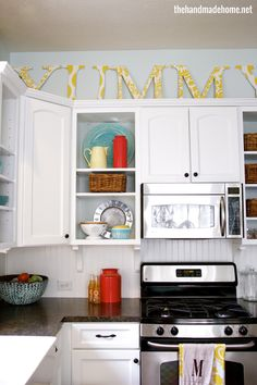 1 - open shelving = love! 2 - the placement of the microwave - can we incorporate this into our house?
