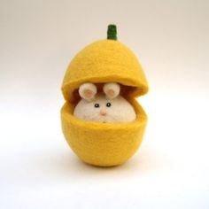 Felted mouse in a butternut squash....