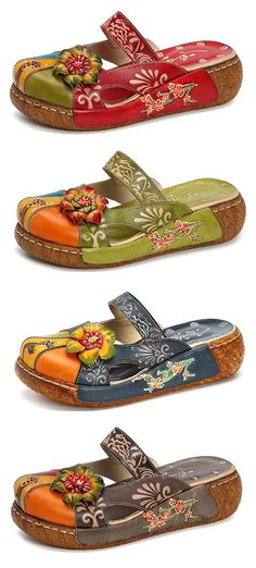 Socofy SOCOFY Vintage Colorful Leather Hollow Out Backless Flower Shoes is cheap and comfortable. There are other cheap women flats and loafers online. Comfy Shoes, Cute Shoes, Me Too Shoes, Comfortable Shoes, Shoe Boots, Shoes Sandals, Heels, Flat Sandals, Look Plus Size