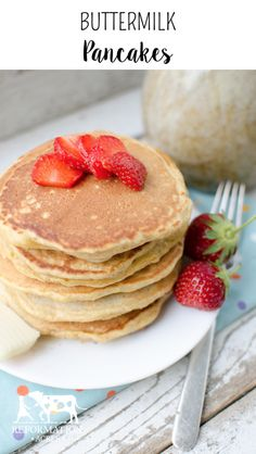 Warm, fluffy, and perfectly golden not only are these buttermilk pancakes delicious, but there are also some great pancake making tips here!