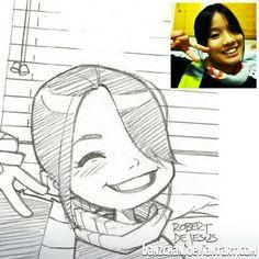 Sketch from Sept 2012.  #slefie #sketch #pencildrawing #portrait #kawaii #peace #sign #blinds #window