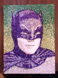 Adam West BATMAN glitter Art 9x12 by TigerGalindo on Etsy, $40.00