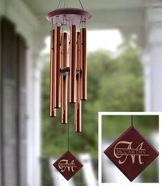 Personalized Wind Chimes - AWESOME! Great gift idea! They have a bunch of different designs for you to choose from - great to hang outside by the garden.