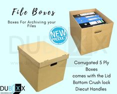 Buy Empty boxes for files these boxes are made from heavy-duty corrugated material which will keep them strong and steady, these boxes also come with die-cut handles on the sides to easily carry them. E Commerce, Office Storage, Storage Boxes, Box With Lid, Empty, Handle, Strong, Ecommerce, Knob