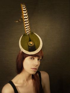 cutting edge avante garde Hats | Olive Grey Felt Avant Garde Cocktail Hat with Peasant Feather, Chain ...