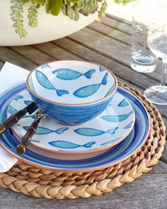 """Blue Fish"" Dinnerware - Neiman Marcus"