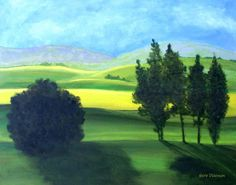 """""""Piedmont l"""" by Herb Dickinson, South Carolina // Landscape painting by artist Herb Dickinson. Imulates the rolling countryside just east of the Applician mountians in North Carolina.Part of a pair, Piedmont I & IIcopyright 2009HerbDickinson. // Imagekind.com -- Buy stunning fine art prints, framed prints and canvas prints directly from independent working artists and photographers."""