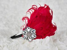 Christmas/ Holiday Headband-  Red feather headband with rhinestone : Photo prop- Newborn, Infant, Toddler, Girl. $19.99, via Etsy.
