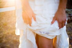 Something Blue: Wedding date stitched into dress