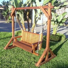 The finest best built Bench Swing Sets on the market. These lovely garden bench swings are truly built to last decades in any weather. Outdoor Wooden Swing, Wood Swing, Outdoor Decor, Side Yard Landscaping, Home Landscaping, House Furniture Design, Kid Furniture, Plywood Furniture, Garden Yard Ideas
