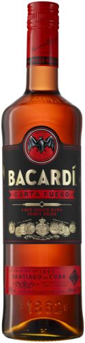 Bacardi Fuego 22,49  BACARDÍ Carta Fuego is de 1e rum soort die wordt geschonken als shot. De vuurrode rum gerijpt in gebrande vaten vol met kruiden, past helemaal bij de rumliefhebber die een avond met vrienden op een vernieuwende manier wil vieren.