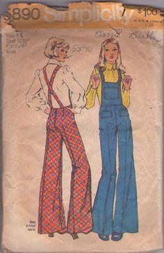 MOMSPatterns Vintage Sewing Patterns - Simplictiy 5890 Vintage 70's Sewing Pattern FUNKY Disco Era Back Zippered Suspender Straps Bib Overalls, Bell Bottoms Pants