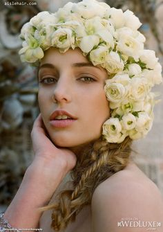 #Wedluxe #braids #flowers #crown #bridal #hair #side #updo