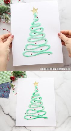 Preschool Christmas Crafts, Christmas Crafts To Make, Winter Crafts For Kids, Diy Christmas Cards, Halloween Crafts For Kids, Crafts For Kids To Make, Holiday Crafts, Christmas Gifts, Christmas Trees