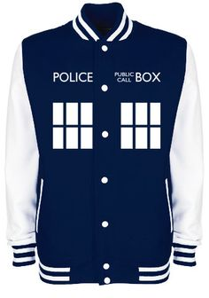 TARDIS Police Box Varsity Jacket - FREE Shipping - Whovian Geek Fan Doctor Who Inspired University College Letterman Baseball Jacket on Etsy, $47.63