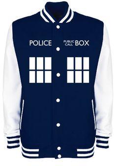 TARDIS Police Box Varsity Jacket - FREE Shipping - Whovian Geek Fan Doctor Who Inspired University College Letterman Baseball Jacket on Etsy, $47.63