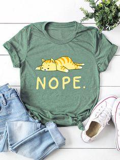 Cartoon Cat Letter Printed Short Sleeve O neck  T shirt for Women P1691477, Light Pink / US 10