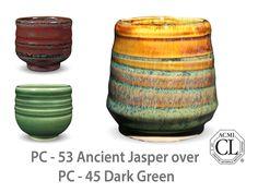 AMACO Potter's Choice layered glazes PC - 45 Dark Green and PC - 53 Ancient Jasper.