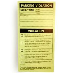 Fake Parking Tickets - a great way to get your point across to rude ...