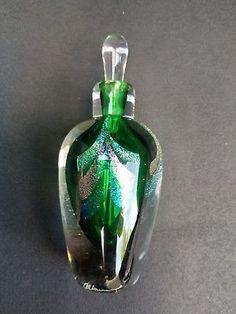 Signed-Studio-Art-Glass-Iridescent-SPATTER-PERFUME-BOTTLE