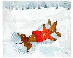 Etsy :: Your place to buy and sell all things handmade Mini Dachshund, Dachshund Puppies, Baby Puppies, Dachshund Drawing, Christmas Dachshund, Daschund, I Love Winter, Winter Fun, Weenie Dogs